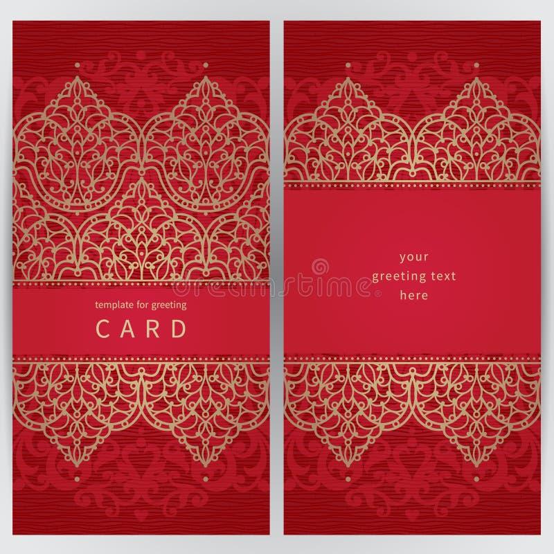 Cartões ornamentado do vintage no estilo oriental ilustração royalty free