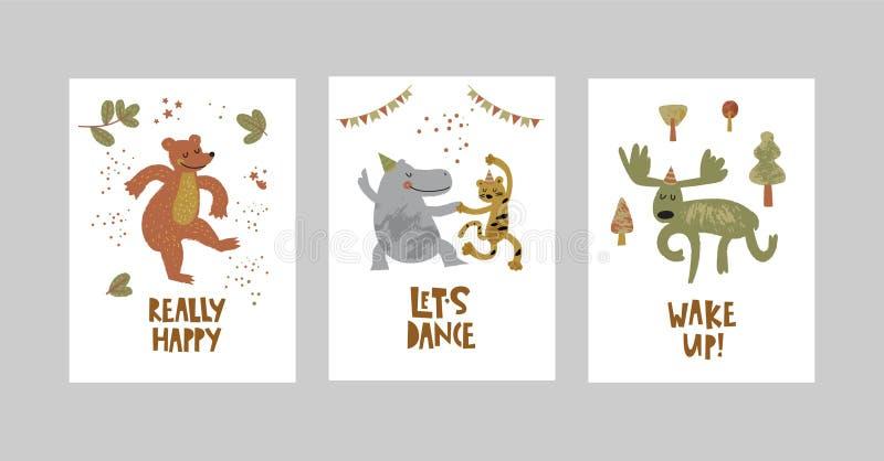 Cartões ou cartazes ajustados com animais bonitos, urso, leopardo, hipopótamo, alce no estilo dos desenhos animados ilustração do vetor