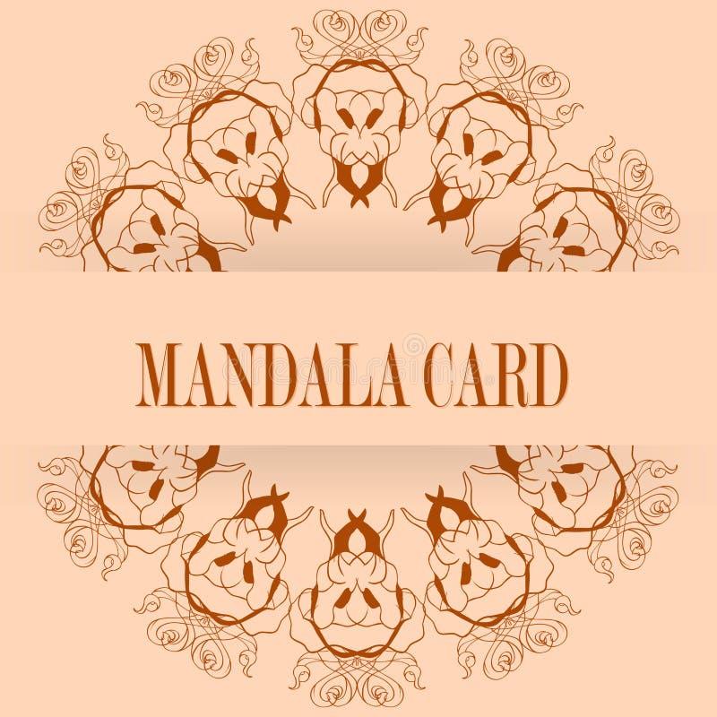 Cartões ou convites com teste padrão da mandala Vintage do vetor desenhado à mão ilustração stock