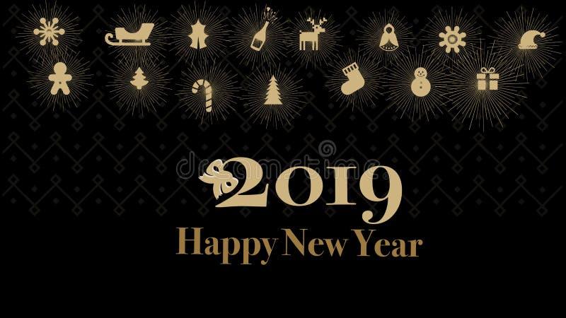 Cartões ou fundo 2019 preto da cor do ouro do ano novo feliz das bandeiras ilustração royalty free