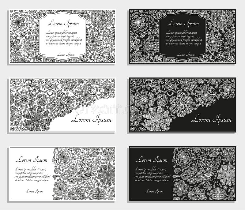 Cartões ou moldes com flores estilizados ilustração do vetor