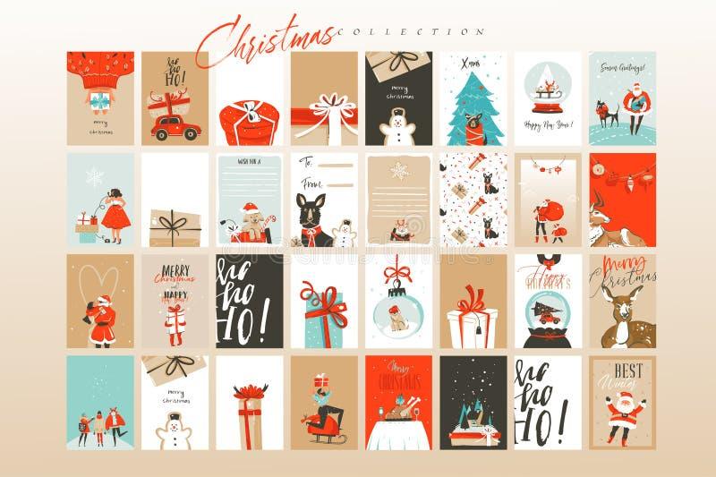Cartões tirados mão molde e fundos das ilustrações dos desenhos animados do tempo do Feliz Natal do divertimento do sumário do ve ilustração do vetor