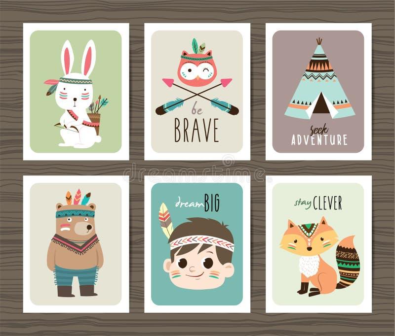 Cartões tribais dos animais ilustração royalty free