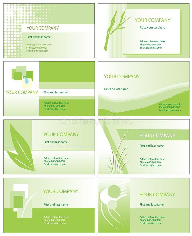 Cartões verdes ilustração stock