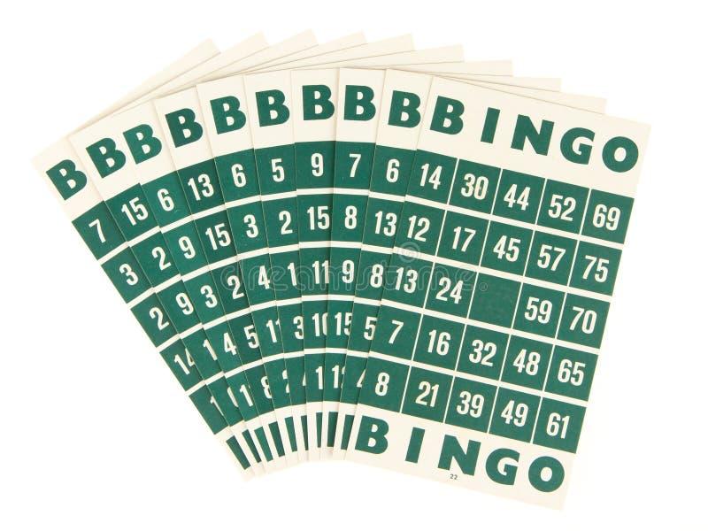 Cartões verdes do bingo isolados imagens de stock royalty free