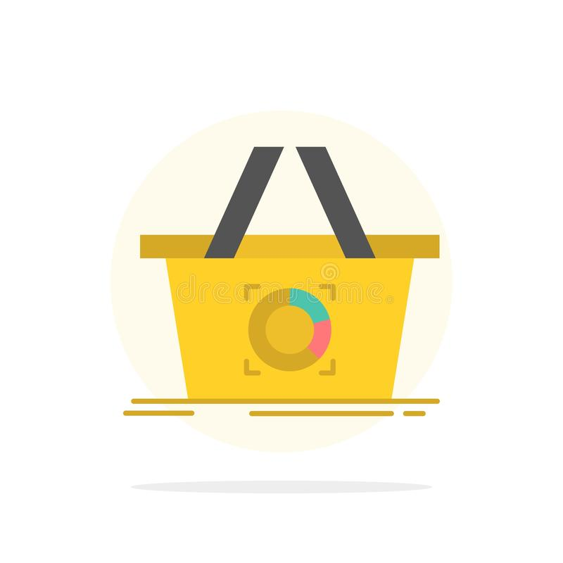 Cart, Add To Cart, Basket, Shopping Abstract Circle Background Flat color Icon stock illustration