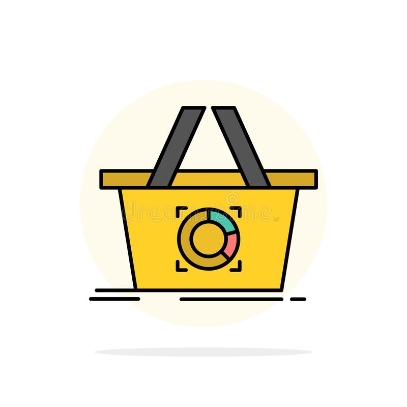 Cart, Add To Cart, Basket, Shopping Abstract Circle Background Flat color Icon royalty free illustration