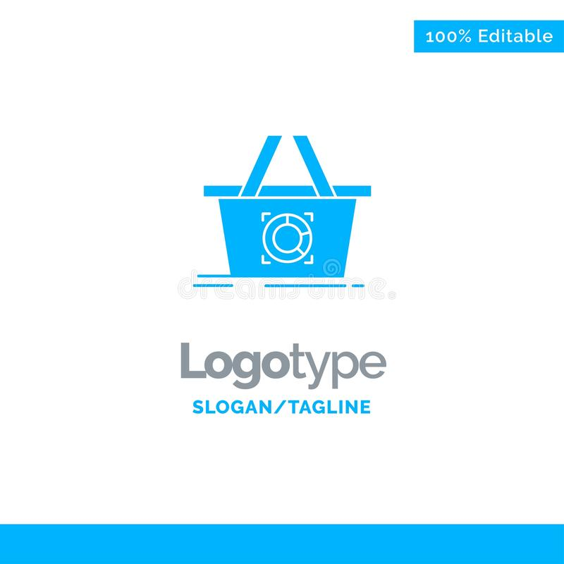 Cart, Add To Cart, Basket, Shopping Blue Solid Logo Template. Place for Tagline stock illustration