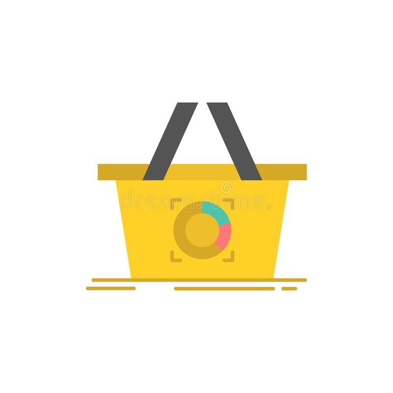 Cart, Add To Cart, Basket, Shopping  Flat Color Icon. Vector icon banner Template stock illustration