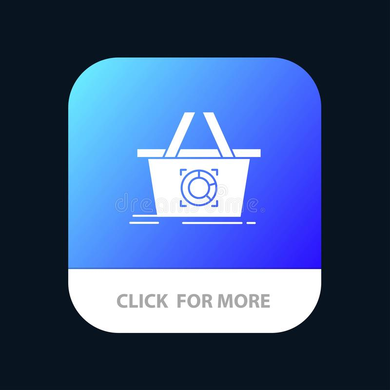 Cart, Add To Cart, Basket, Shopping Mobile App Button. Android and IOS Glyph Version stock illustration