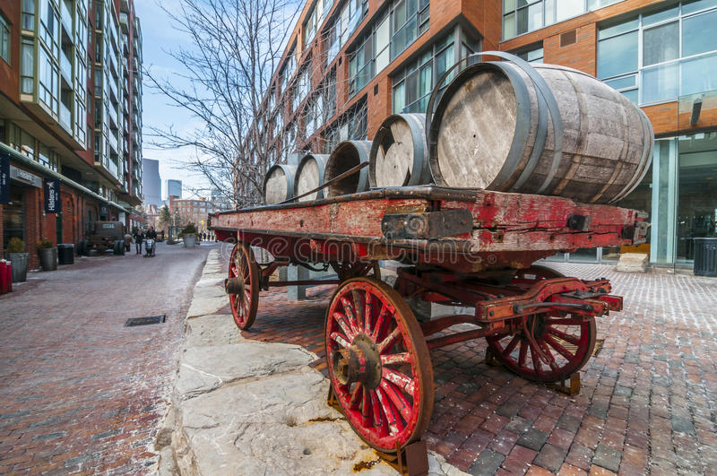Cart of barrel:Distillery dist. Toronto Canada royalty free stock images