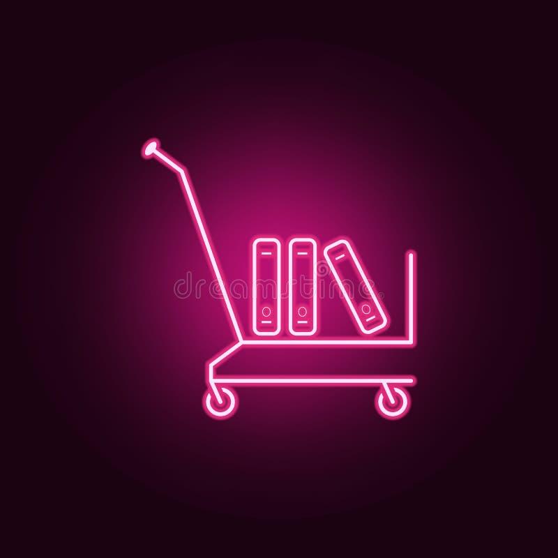 cart com ícone dos livros Elementos dos livros e dos compartimentos nos ícones de néon do estilo Ícone simples para Web site, des ilustração do vetor