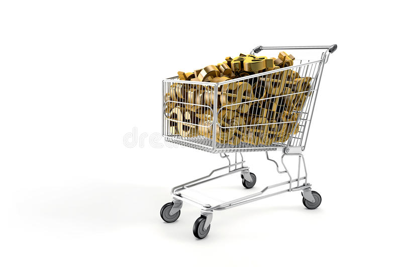 Cart With dollar symbol. Shopping cart filled with money symbols stock illustration