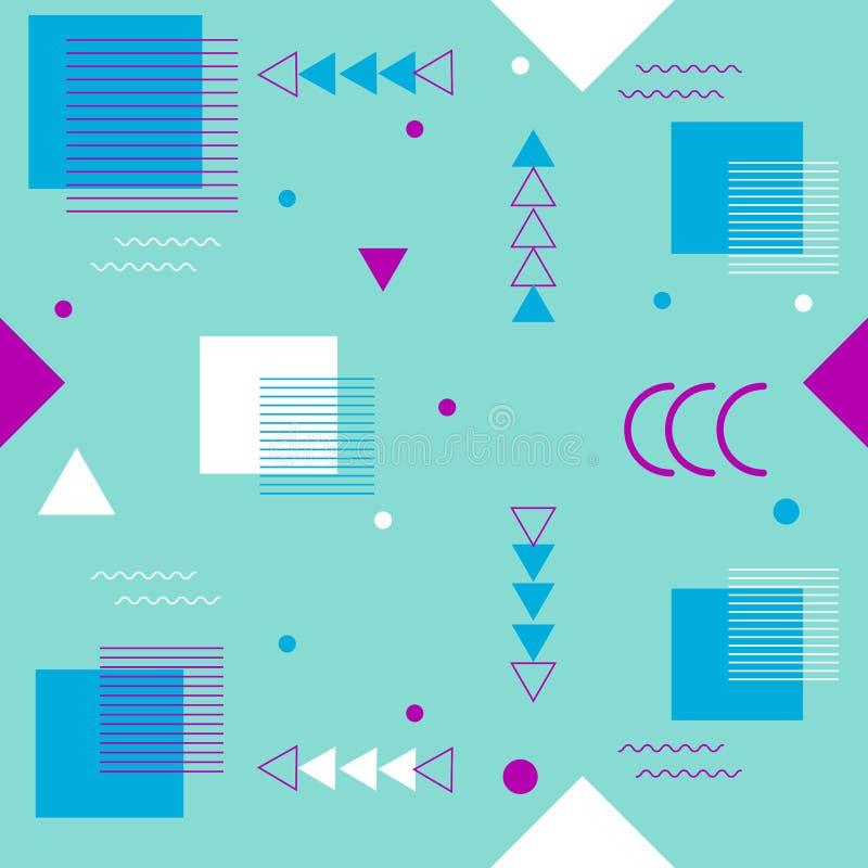 Cart?es geom?tricos na moda de memphis dos elementos, teste padr?o sem emenda Textura retro do estilo Cartaz abstrato moderno do  ilustração stock