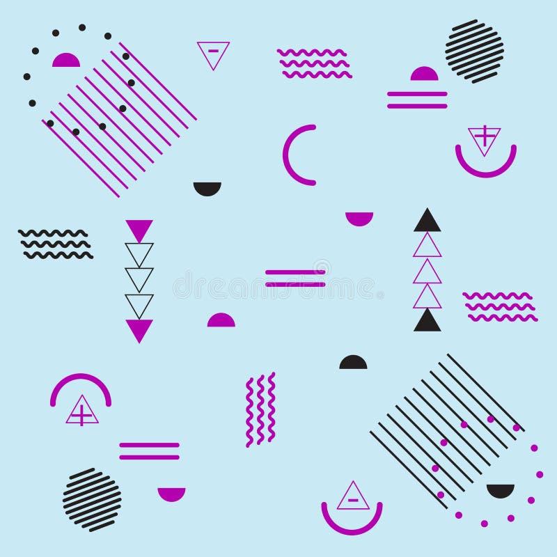 Cart?es geom?tricos na moda de memphis dos elementos Textura retro do estilo Cartaz abstrato moderno do projeto, tampa, projeto d ilustração royalty free