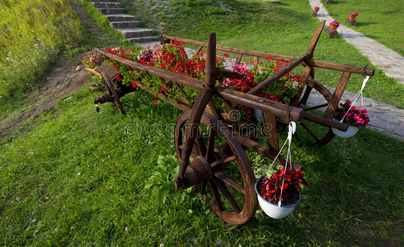 Cart of flower pots with red flowers and grass stock photos