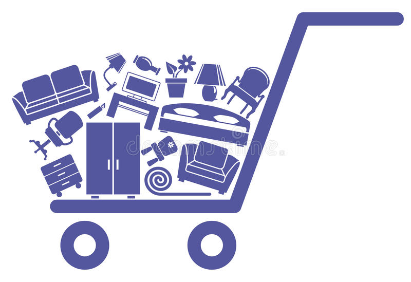 The cart with furniture. And the goods for the house royalty free illustration