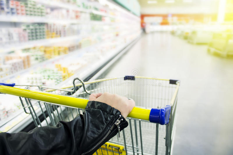 Cart at the Grocery Store stock photo