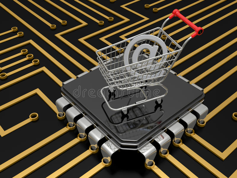 Download The Cart With Internet Symbol Stock Illustration - Image: 14029410
