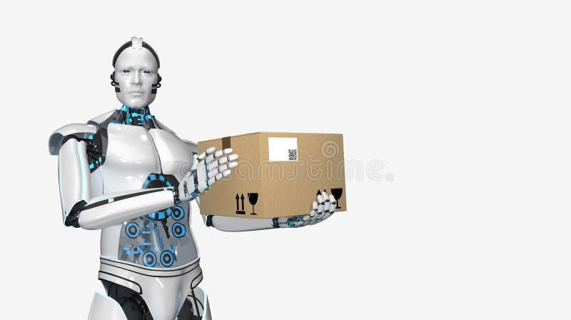 Cart?n Humanoid del env?o del robot stock de ilustración