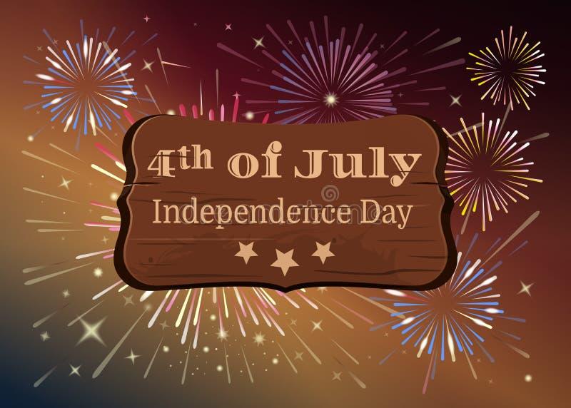 Cart?o americano do Dia da Independ?ncia Quarto de julho ilustração stock