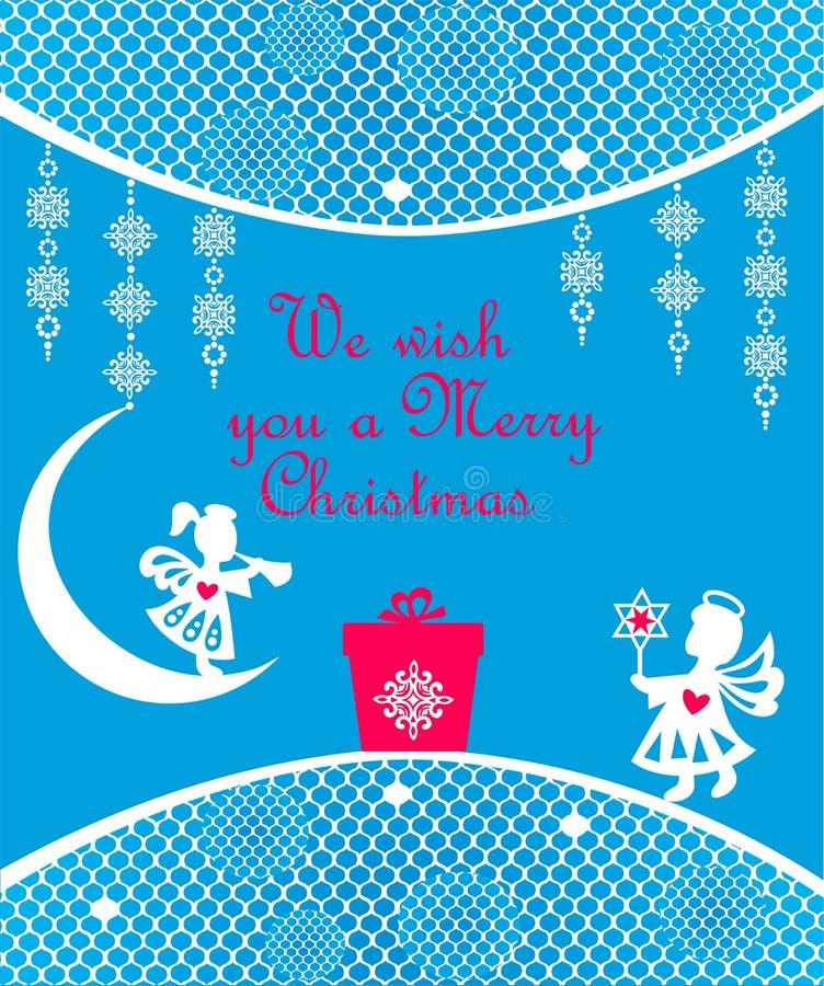 Cart?o azul do cumprimento do Natal com a ?rvore do corte do Livro Branco do of?cio, os flocos de neve e anjos de suspens?o ilustração stock