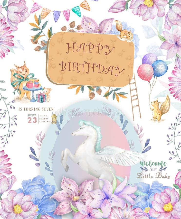 Cart?o bonito do feliz aniversario com desenhos animados Pegasus Flores feericamente do rosa do boho do clipart e da beleza da aq ilustração do vetor