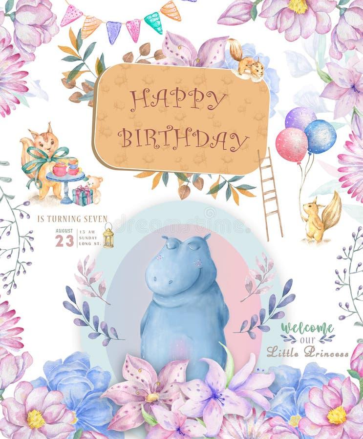 Cart?o bonito do feliz aniversario com hipop?tamo o hipop?tamo da aquarela e as flores cor-de-rosa da beleza, floral e as folhas  ilustração do vetor