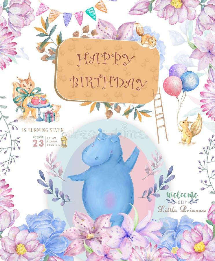 Cart?o bonito do feliz aniversario com hipop?tamo o hipop?tamo da aquarela e as flores cor-de-rosa da beleza, floral e as folhas  ilustração royalty free