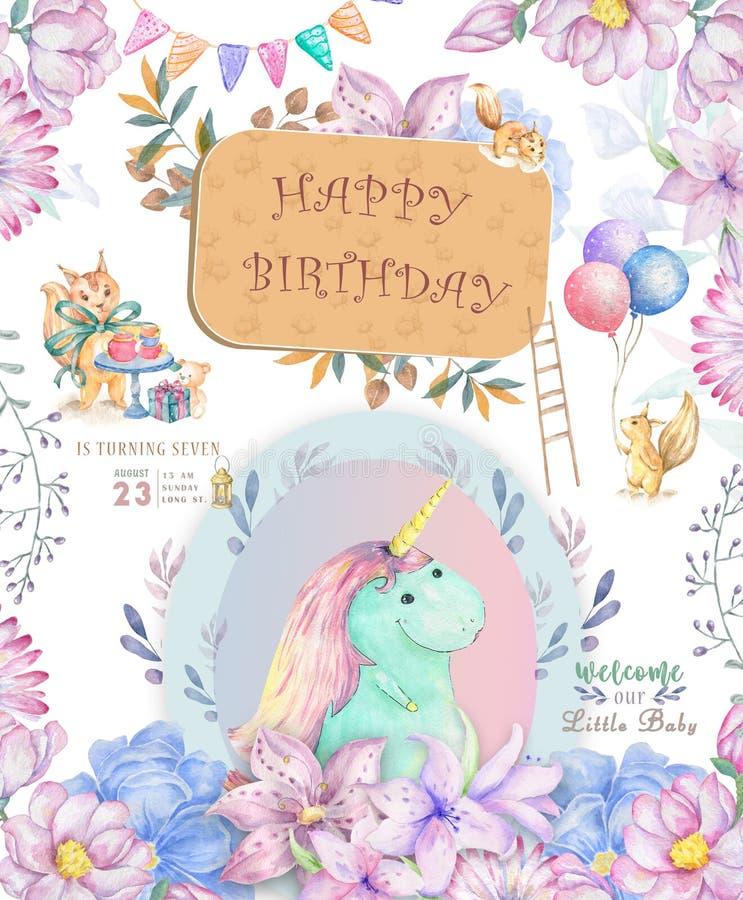 Cart?o bonito do feliz aniversario com unic?rnio dos desenhos animados Flores feericamente do rosa do boho do clipart e da beleza ilustração do vetor