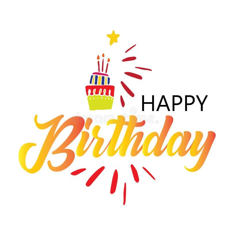 Cart?o com a caligrafia que rotula o feliz aniversario E ilustração royalty free