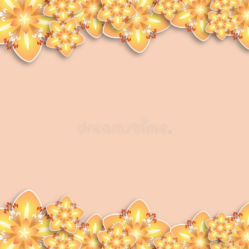 Cart?o com flores, fundo, quadro de flores coloridas ilustração do vetor