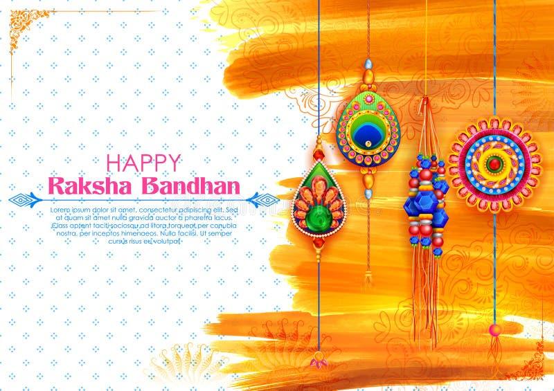 Cart?o com o Rakhi decorativo para o fundo de Raksha Bandhan ilustração do vetor
