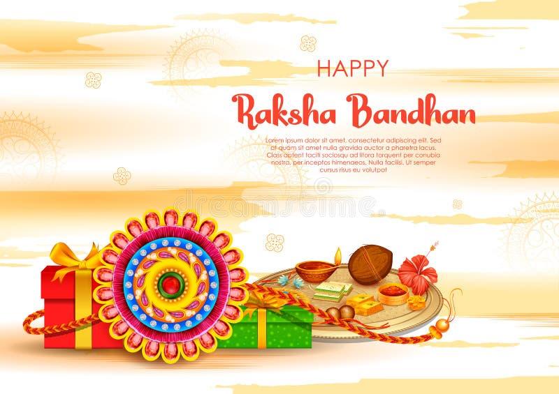 Cart?o com o Rakhi decorativo para o fundo de Raksha Bandhan ilustração royalty free
