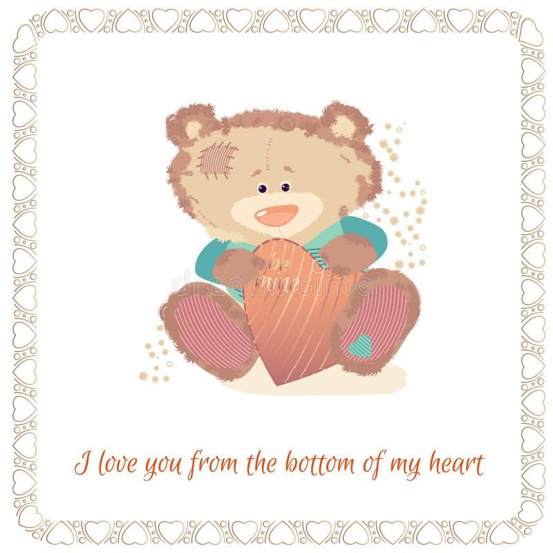 Cart?o com um filhote de urso Um urso pequeno ? um brinquedo ilustração do vetor