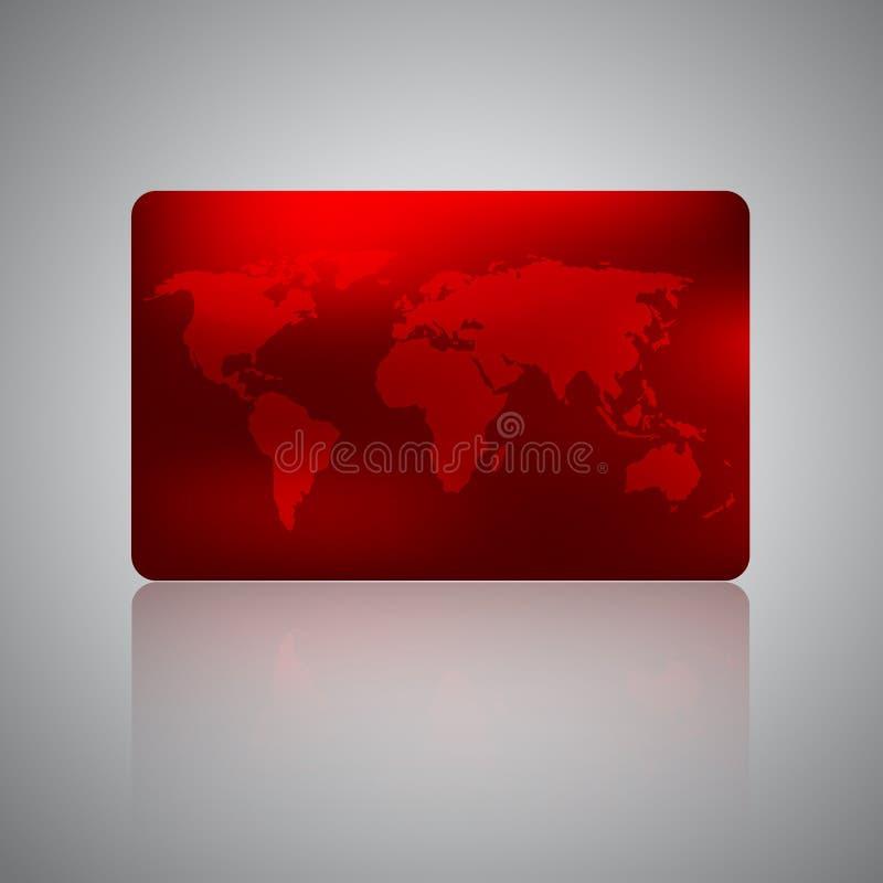 Cart?o da ag?ncia de viagens Cartão do vale-oferta, do desconto ou de crédito com o mapa do mundo no fundo vermelho ilustração royalty free