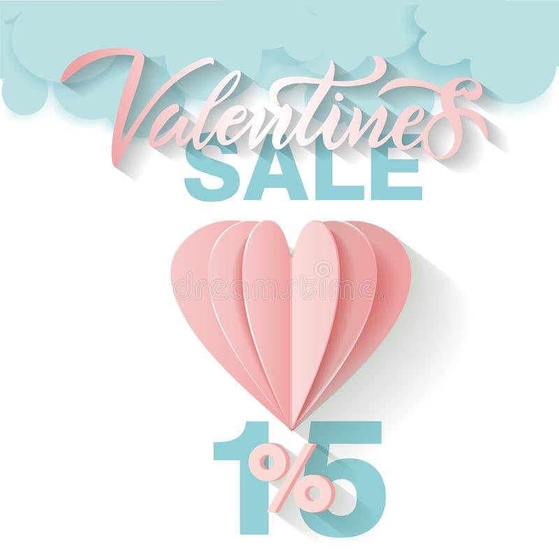 Cart?o da oferta para a venda do dia de Valentim Rotulando a venda do Valentim 15 por cento bal?o e nuvens de papel do rosa do vo ilustração stock