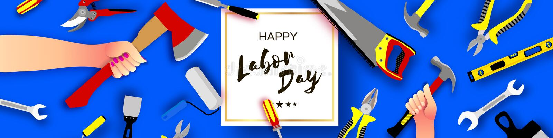 Cart?o de cumprimentos feliz do Dia do Trabalhador para o feriado nacional, internacional Ferramentas guardando dos trabalhadores ilustração royalty free