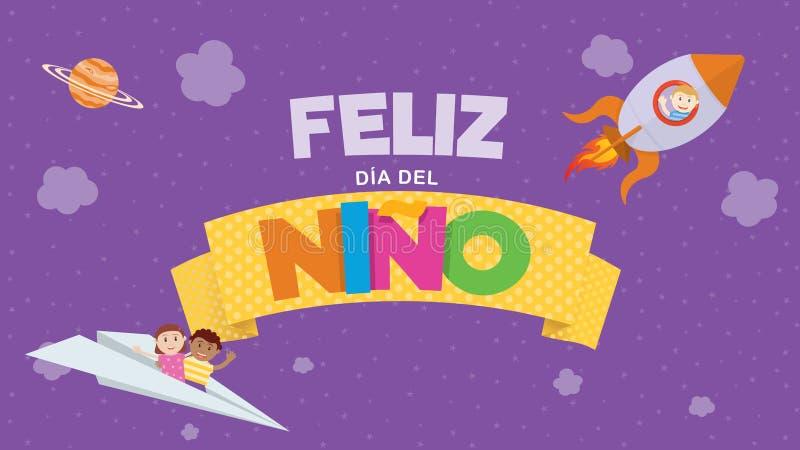 Cart?o de Feliz Dia del Nino - o dia das crian?as felizes na l?ngua espanhola Letras coloridas em uma fita amarela com crianças ilustração do vetor