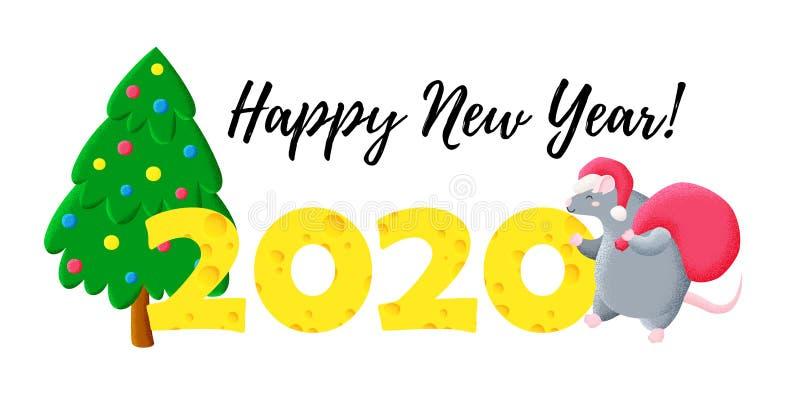 Cart?o de Natal engra?ado Ano novo chin?s Ano do rato Molde para a cópia, projeto do vetor 2020 ilustração do vetor