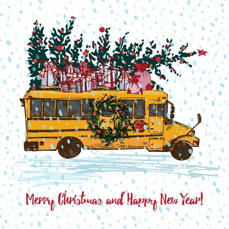 Cart?o de Natal festivo O ônibus escolar amarelo com árvore de abeto decorou bolas e presentes vermelhos no telhado Fundo sem eme ilustração royalty free