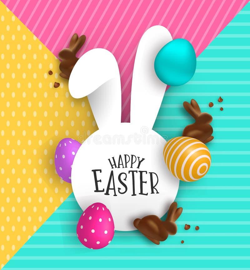 Cart?o de papel da P?scoa do coelho do chocolate e dos ovos 3d ilustração do vetor
