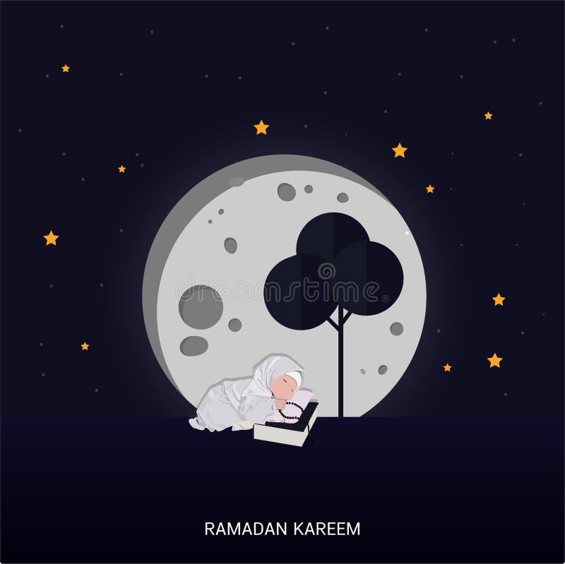 Cart?o de rotula??o do cumprimento de Ramadan Kareem com lua e estrela ilustração royalty free