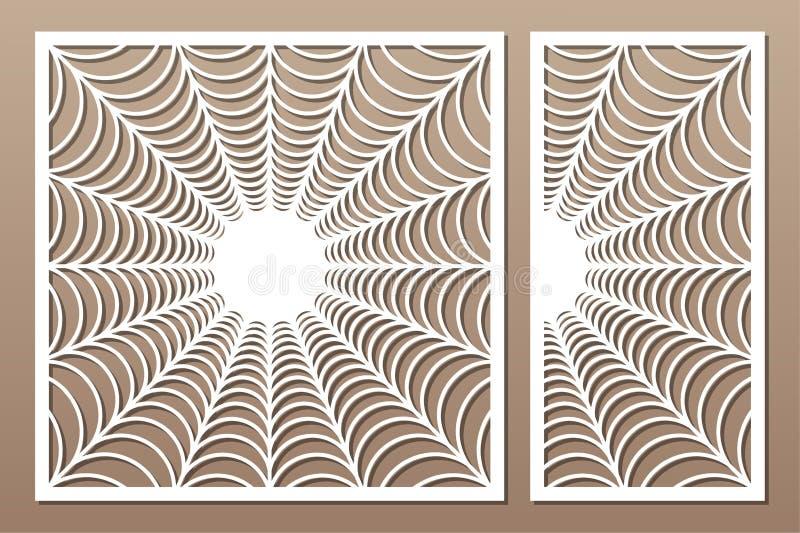 Cart?o decorativo ajustado para cortar Teste padrão linear abstrato do Dia das Bruxas Painel do corte do laser 1:1 da rela??o, 1: ilustração stock