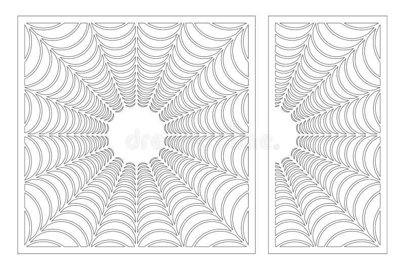 Cart?o decorativo ajustado para cortar Teste padr?o linear abstrato do Dia das Bruxas Painel do corte do laser 1:1 da rela??o, 1: ilustração do vetor