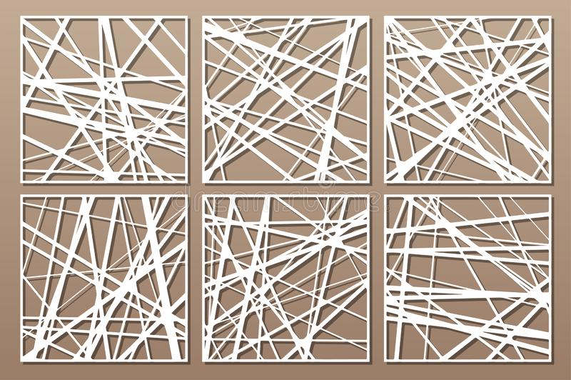 Cart?o decorativo ajustado para cortar Teste padr?o linear abstrato Painel do corte do laser 1:1 da rela??o Ilustra??o do vetor ilustração do vetor