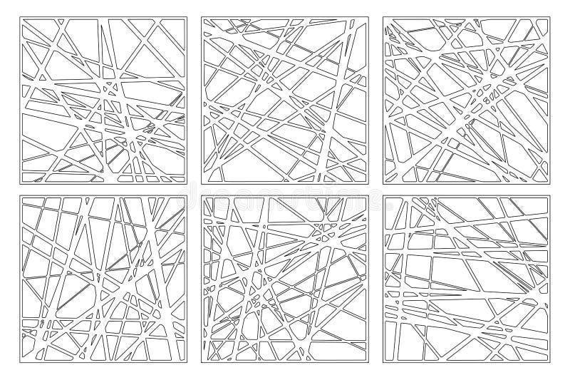 Cart?o decorativo ajustado para cortar Teste padr?o linear abstrato Painel do corte do laser 1:1 da rela??o Ilustra??o do vetor ilustração royalty free