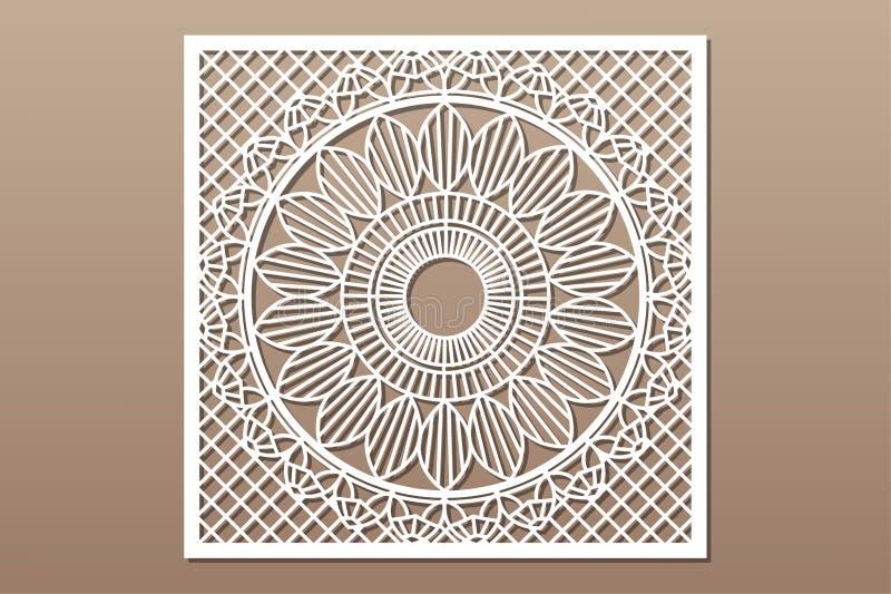 Cart?o decorativo para cortar Linha teste padrão da geometria da mandala Painel do corte do laser 1:1 da rela??o Ilustra??o do ve ilustração do vetor