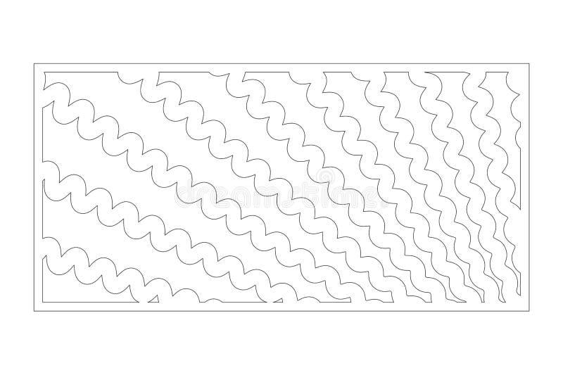 Cart?o decorativo para cortar Linha teste padr?o da onda Painel do corte do laser 1:2 da rela??o Ilustra??o do vetor ilustração royalty free
