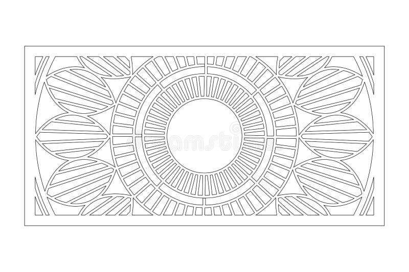 Cart?o decorativo para cortar Teste padrão de Mandala Geometry Painel do corte do laser 1:2 da rela??o Ilustra??o do vetor ilustração do vetor